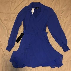 Bebe Wrap Flare Dress Blue XS